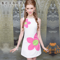 White ver a flower slim waist sleeveless chiffon one-piece dress 2 color