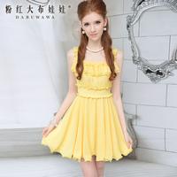 Yellow ruffle slim waist expansion bottom sleeveless chiffon dress