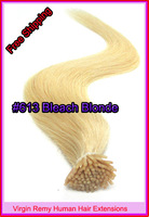 "Free Shipping 18"" 20"" 22"" Keratin I Tip Hair Virgin Remy Human Hair Extensions 0.5g/s 100s/pack Color #613 Bleach Blonde 50g"