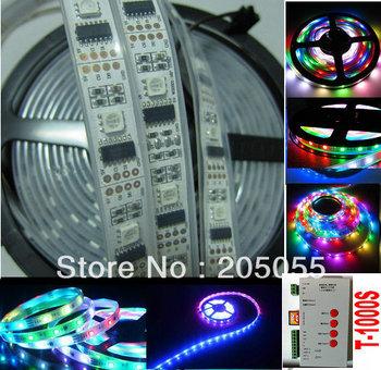 5M  5V 16.4F WS2801 Digital addressable RGB LED dream color Strip light 32Leds/M Waterproof IP67+SD Card Programmable Controller