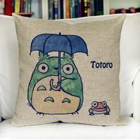 Creative Cute Totoro 1pcs 45 * 45cm Linen Cotton Pillows Decorate for a Sofa Monopoly Wholesale Free Shipping