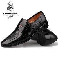 summer breathable men's leather shoes mens formal leather cutout shoes single shoes formal black shoes