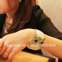 Metal Enamel Retro Tone Owl Open Hand Bangle Bracelet Cuff for Gift Unisex