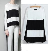 2013 New fashion womens' Elegant Classic black and white blouses quality casual shirts o neck slim tops brand designer blouse