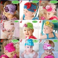 10 pcs Baby Girl Feather Headband Infant Head Decoration Christmas Flower Hair Band Child Headwear