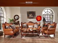 European American Modern Hand Carved solid wood genuine leather sofa living room sofa set big house villa