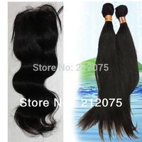 "Peruvian  Virgin Hair 1pcs Lace Top Closure 4x3.5""+2pcs Straight human hair weft extensions Natural Color  can be dyed 3pcs/lot"