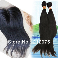"""MIX Lenght  Malaysia Virgin Hair 1pcs Lace Top Closure 4x3.5""""+2pcs Straight hair weft extensions 3pcs Natural Color can be dyed"""