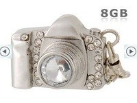 Free shipping 2GB 4GB 8GB 16GB 32GB 64GB Camera Design USB Flash Drive with Rhinestone Decoration (Silver)