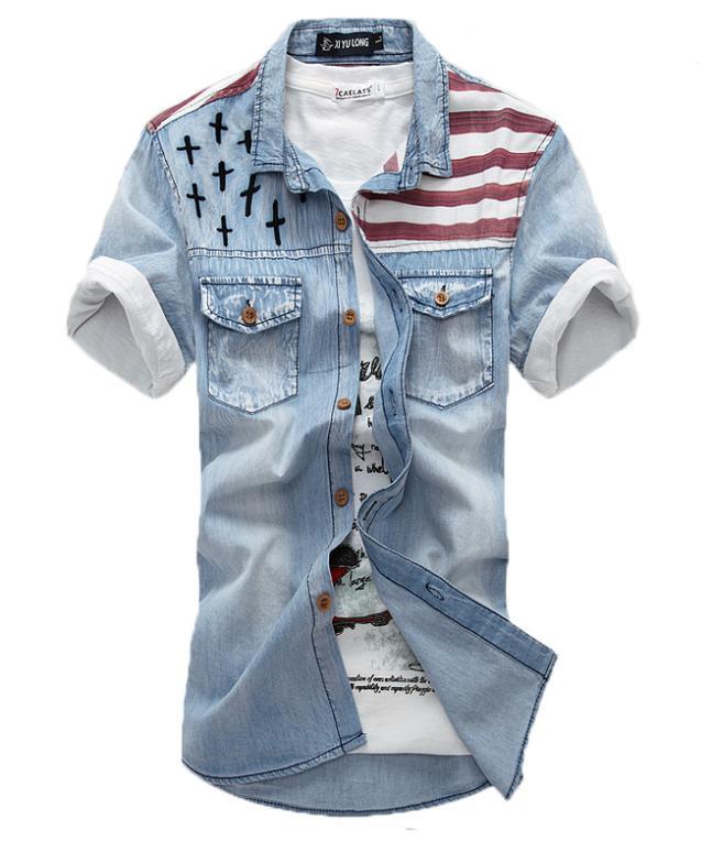 Men Shirt American Flag Denim Shirt for Men Short Sleeve Shirt Fashion Trend Free Shipping MCS047(China (Mainland))