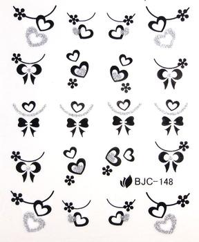 Bk nail art supplies watermark stickers water transfer printing applique nail art shallops powder decal bjc133-154