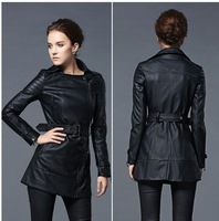 Women's Autumn New PU Leather Jacket.Hot.Slim Medium-Long Black Trench Belt Motorcycle Outerwear Designers Plus Size