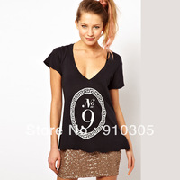 2013 fashion laciness pattern no9 letter print white black v female cotton short-sleeve T-shirt free shipping
