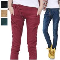 Slim breasted denim pencil pants casual pants trousers