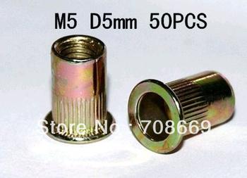 50pcs Flat Head Metric Steel M5 Blind Insert Rivet Nut Rivnut