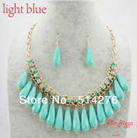 2013 Fashion Resin weaved water drop jewelry set for Woman Necklace and Earrings Free Shipping