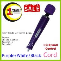 DHL White Purple Black 10 Speeds Magic Wand Massager+Spare Hitachi Magic Wand Massager Replacement Head US,UK,EU,AU Plug 35pcs