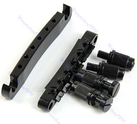 Guitar Tune-O-matic Bridge Tailpiece Tail  Style Set Black