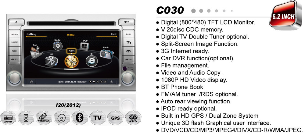 Car DVD Player For Hyundai I20 2012 Car Audio pc with internet Surfing, 3D GPS, iPod TV BT Radio USB SD(China (Mainland))