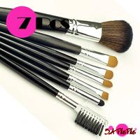 7PCS Professional Black Eye Sadow Lipstick Angle Eyebrow Comb Blush Concealer Beauty Cosmetic Makeup Brushes Set Retail Bag