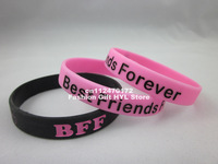 Free shipping! BFF - Best Friends Forever Wristband, colour filled in ,Silicon bracelet, 2colours, MOQ: 1PC