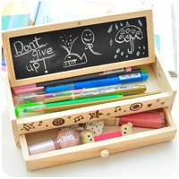 Korea stationery lovely pencil box multifunctional wooden diy drawer stationery box