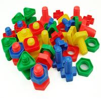 free shipping Screw building blocks plastic insert blocks nut shape toys for children