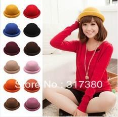 Wholesale 6pcs NEW Fashion Women Winter Wool Hats Fedoras Ladies Bowler Hat Womens Felt Dome Caps Spring Cloche Autumn Derby Cap