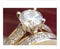 100% new 14K  Yellow Gold Engagement Wedding Rings Set