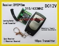 DC12V Door Access Remote Control System Gateway Garage Door Lock  2Receiver 100Transmitter 315/433MHZ  Waterproof Transmitter