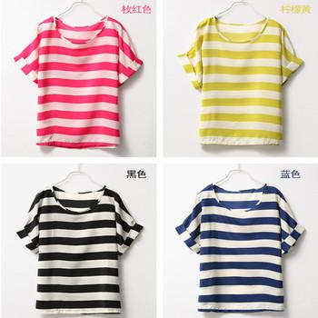 Ladies' T-shirt Printed stripe loose chiffon T-shirt Free Shipping W4143