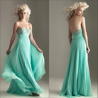 Faironly 2013 Sweetheart Neckline Backless Empire Beaded Long Chiffon Arabic Evening Dress