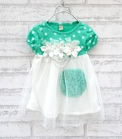 2013  New  Children's clothing baby girls clothes kids tutu dress girl dress with flower Green