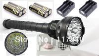 HK Post Free 2013 New TrustFire flashlight 18000lm 15x CREE XM-L T6 LED Flashlight Torch 15T6 Light Lamp+ 4x18650 + 2 Chargers