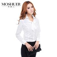 2013 half sleeve long-sleeve shirt female plus size slim ol work wear shirt female vintage bow white shirt