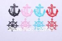 Free shipping!Mixed 95pcs Acrylic Anchor&Wheel Charm Pendant.