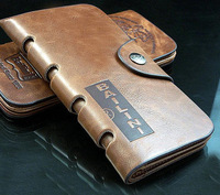 2014 New  Arrival Tough Cow Leather Wallet Men's  Mid-long Style Purse Cards Holder Free Shipping Wholesale BQQ036