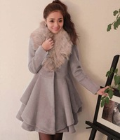 Free Shipping 2013 Autumn And Winter New Korean Women Wth Fur Collar Warm Woolen Coat Jacket Slim Skirt M / L Black Light Gray