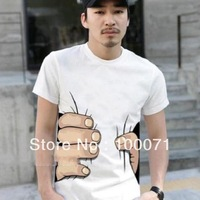 Hot !big Hand t shirt!Man men clothes Printing Hot 3D visual creative personality spoof grab your cotton T-shirt shirt # 29820