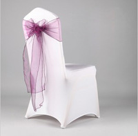 Free shipping 200 Purple Organza Cover Sash/Bow Wedding