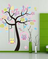 Cute cartoon owl tree home decoration wall stickers for kids rooms diy wall art poster vinyl decals bathroom mirror wallpaper 3d