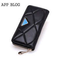 Sheepskin patchwork handbag fashion bright color women's wallet long design wallet