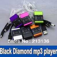 500 Black Diamond Mini Clip metal Clip MP3 player with TF Slot MP3+USB+Earphone 6 colors in stock