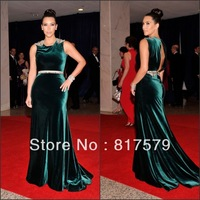 Red Carpet Green Velvet Ground-long Tail Kim Kardashian Celebrity Dresses 2013