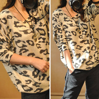 2013 autumn leopard print pattern loose batwing sleeve sweater plus size sweater female