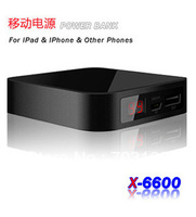 5pcs/lot 6600mAH mobile power bank/power pack/charger/ adapter for Smart mobile phone, tablet pc
