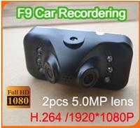 "Dual camera + 230 degrees + H.264 1080P + G-Sensor 5.0mp lens Car dvr F9 Night Vision car camera 2.7"" TFT LCD car recorder"