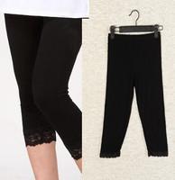 Summer women's basic soft modal cotton length exquisite lace capris 7 legging
