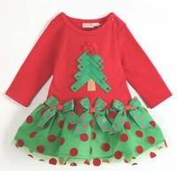 christmas female child long-sleeve dress red dress girl dress 5pcs/lot free shipping