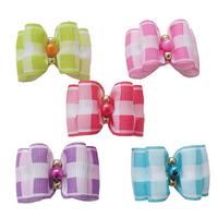 Handmade Small dog accessories Retro plaid ribbon Ribbon Bow #b22020 Collar bow tie, Teddy Dog Supplies, Free Shipping.